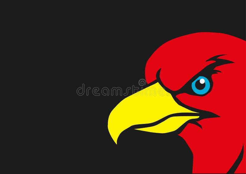 与黄色额嘴传染媒介的红色老鹰 库存例证