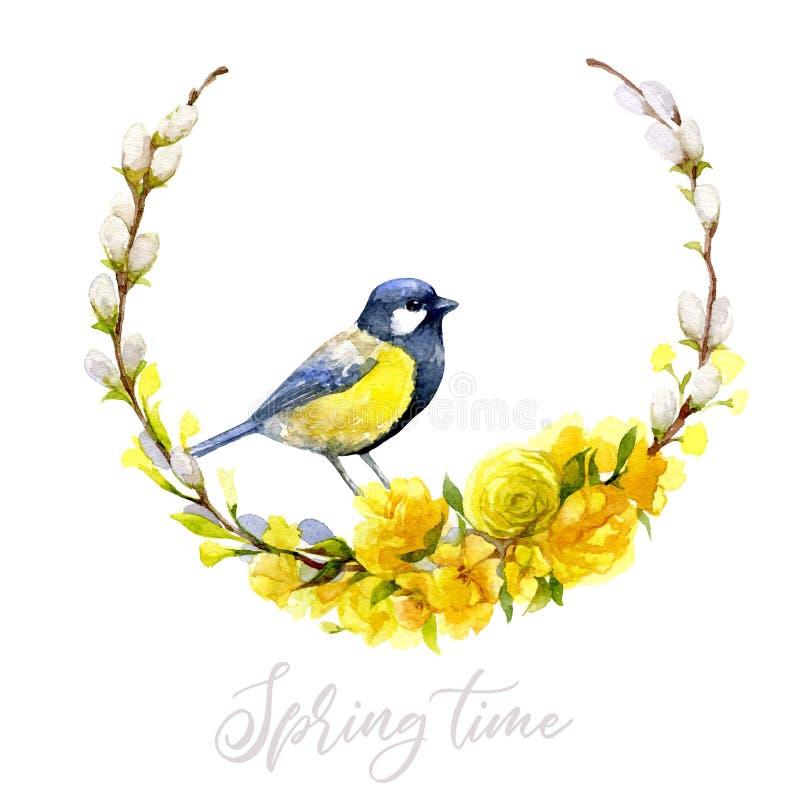 与黄色鸟的植物的水彩花圈 美妙9心情多彩多姿的照片被设置的春天的郁金香 向量例证