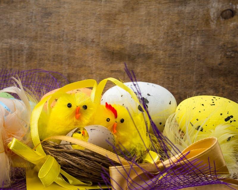 与黄色鸡的复活节装饰构成筑巢,颜色鸡蛋和五颜六色的羽毛在木板 免版税库存图片