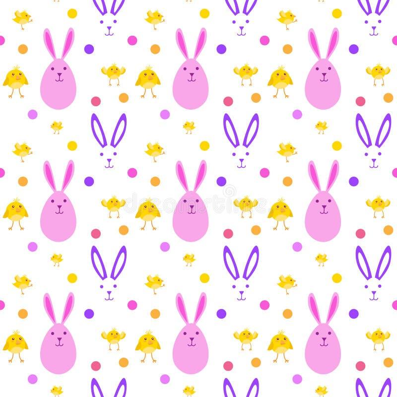 与黄色鸡的复活节逗人喜爱的无缝的在白色背景的样式和兔宝宝 向量例证
