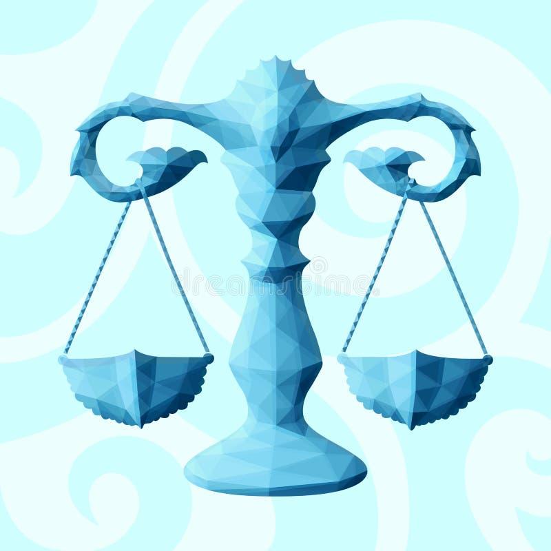 与黄道带标志天秤座的蓝色低多艺术 库存例证