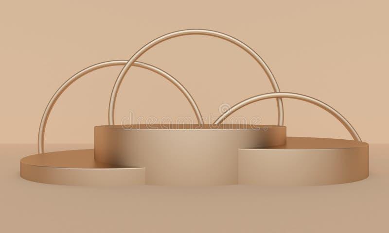 与黄金双拱和平台的几何轻的抽象背景 3d?? 库存例证