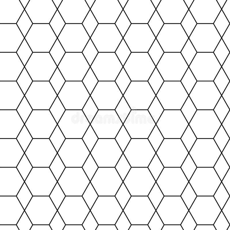 与黑六角形的几何无缝的样式 r 库存例证