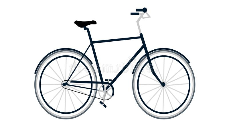 与黑和灰色着色自行车的大舒适的蓝色 库存例证