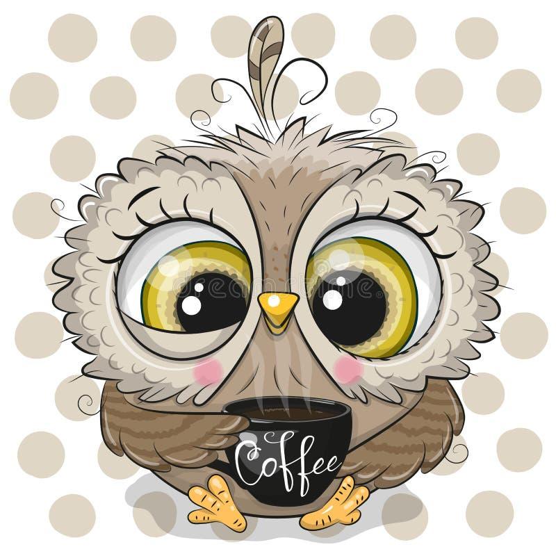 与黑咖啡的动画片猫头鹰 向量例证