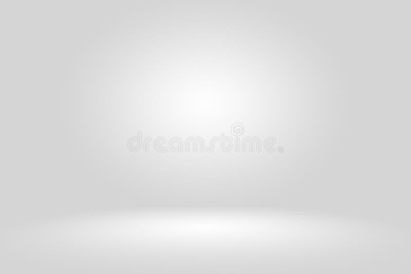 与黑坚实小插图照明设备演播室墙壁的抽象空的黑暗的白色灰色梯度和地板背景井使用  库存例证