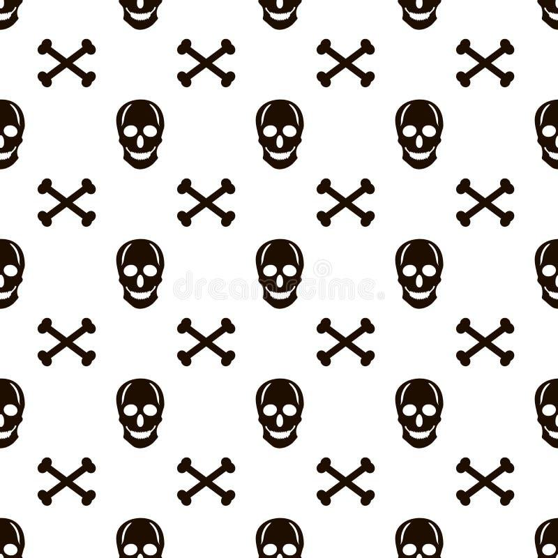 与黑头骨和骨头的无缝的样式在白色backgr 库存例证