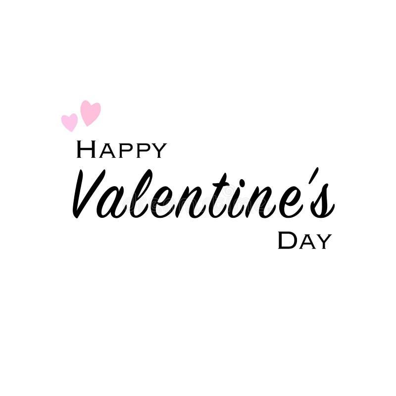 与黑字体和桃红色心脏的愉快的情人节贺卡 皇族释放例证