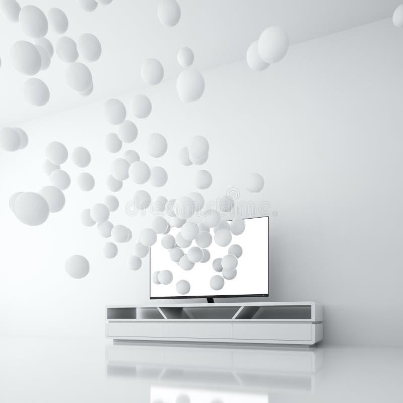 与黑屏的聪明的电视引起从本身的球形 库存例证