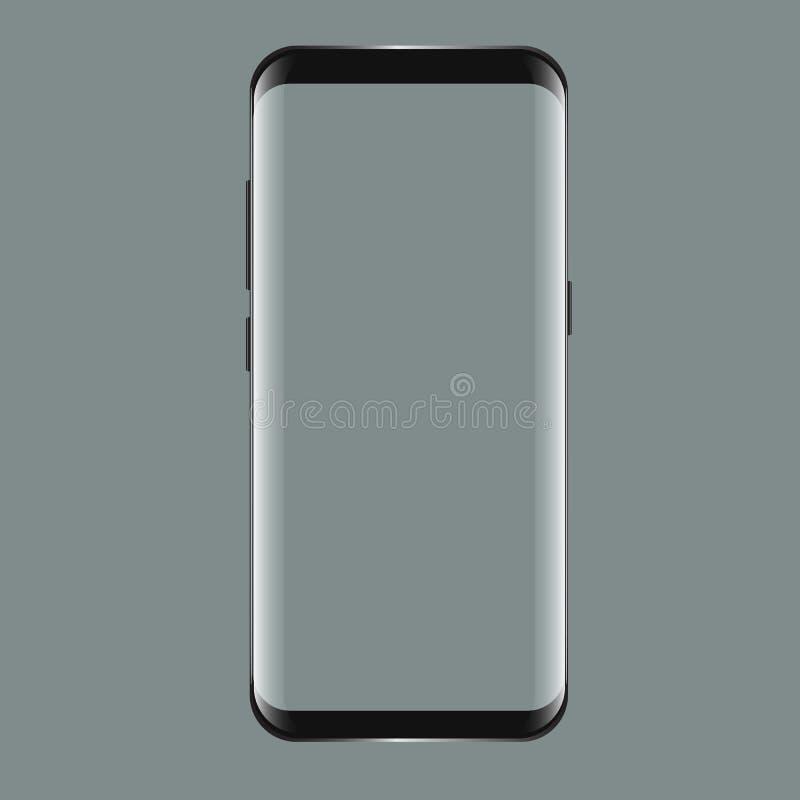 与黑屏的黑智能手机三星星系S8 您的app射出的陈列室的现实3d大模型 库存例证