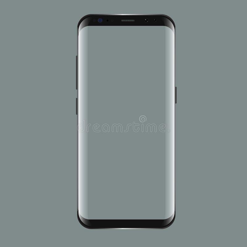 与黑屏的黑色smartphone 您的app射出的陈列室的现实3d大模型 向量例证