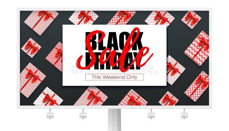 与黑星期五销售广告的广告牌零售,购物,圣诞节促进的 礼物盒、红色丝带和弓 皇族释放例证