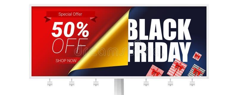 与黑星期五销售广告的广告牌  折扣50% 开放纸的弯曲的角落 装饰元素为 皇族释放例证