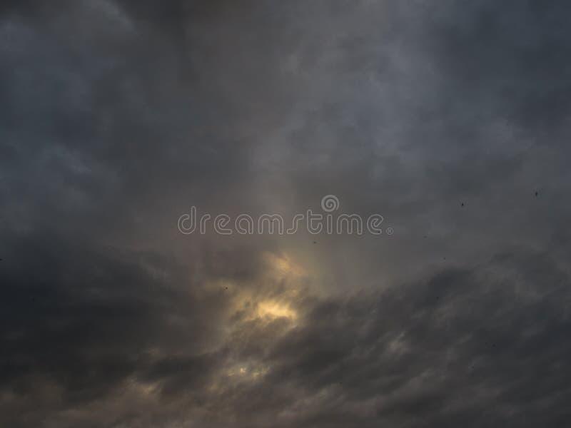 与黑暗的剧烈的云彩的灰色多云,风雨如磐,黑暗的天空与一个明亮的黄色晴朗的斑点在中心和与鸟 库存照片