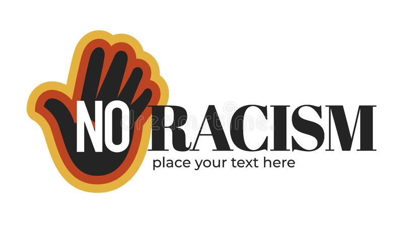 与黑暗的皮肤棕榈的没有种族主义被隔绝的象 库存例证