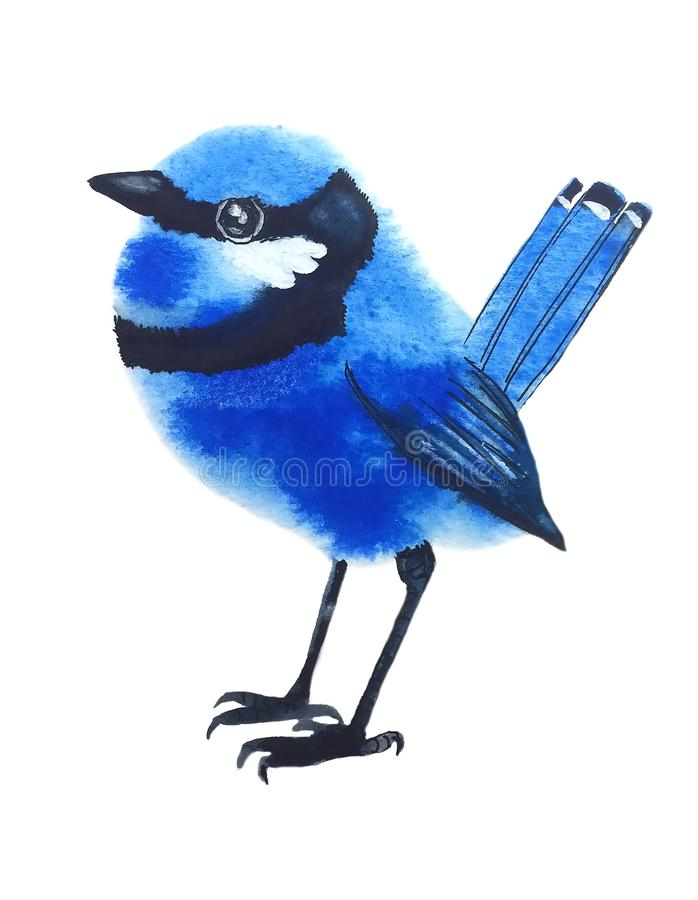 与黑条纹的小的蓝色鸟 向量例证