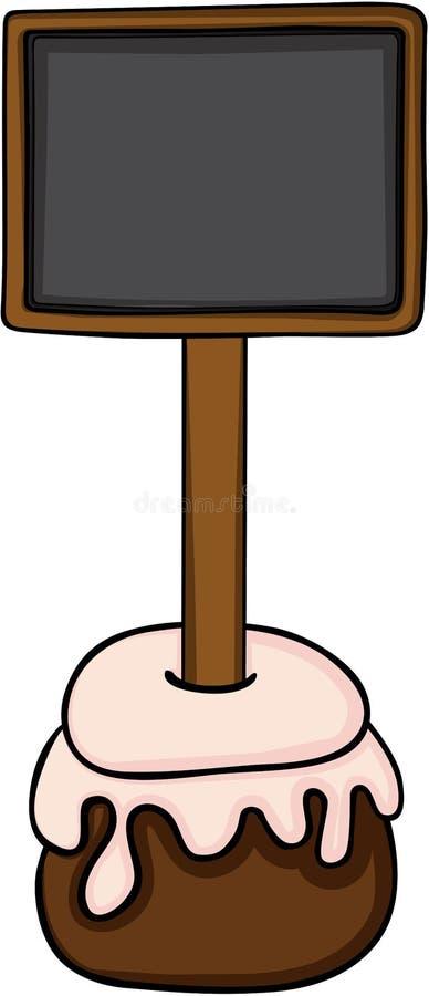 与黑板的小圆形蛋糕 向量例证