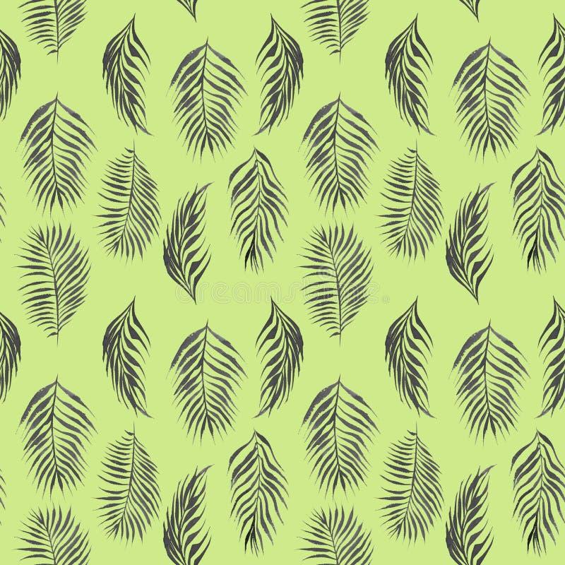 与黑棕榈树叶子的水彩简单的花卉热带无缝的样式 皇族释放例证