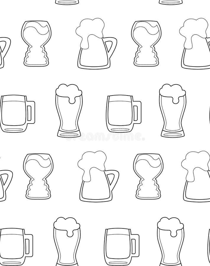 与黑概述啤酒杯的无缝的样式在白色背景 啤酒天,党 库存例证