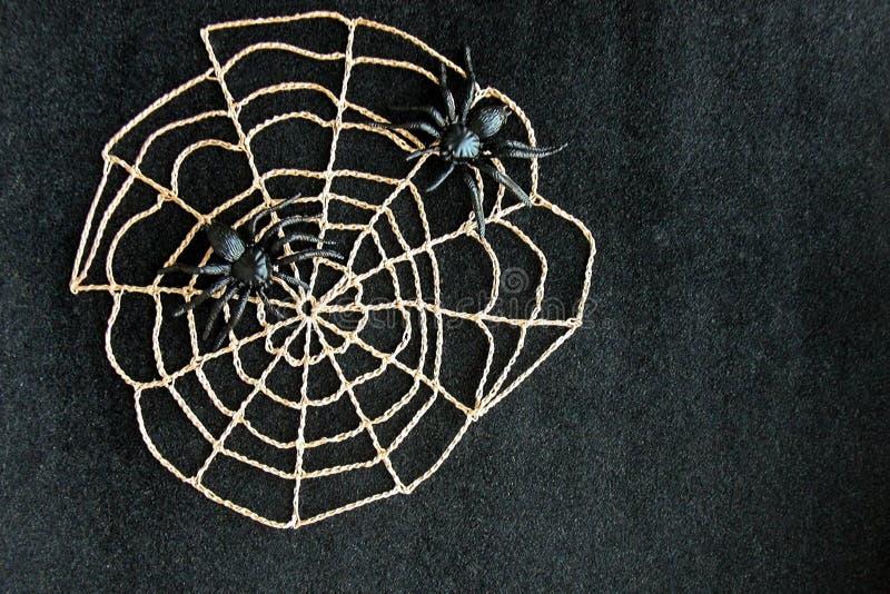 与黑橡胶蜘蛛的钩针编织的蜘蛛网在黑天鹅绒背景 黑暗的万圣夜10月概念 库存图片