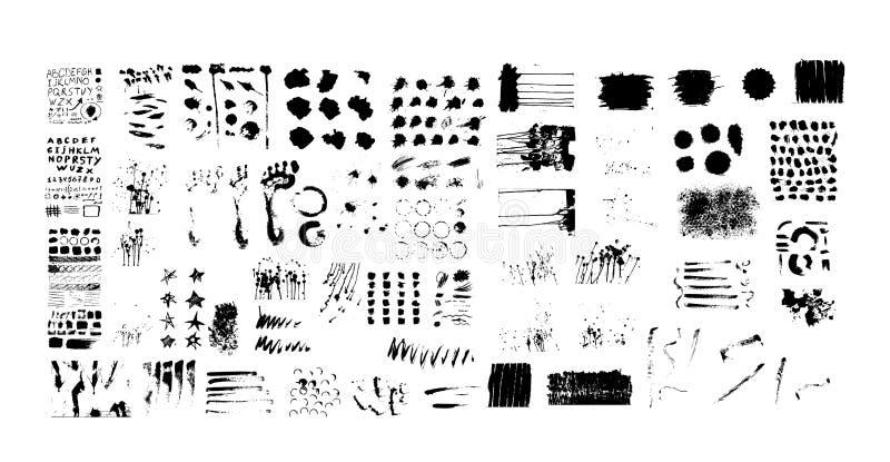 与黑油漆,墨水刷子冲程,刷子,线的大难看的东西纹理集合 库存例证