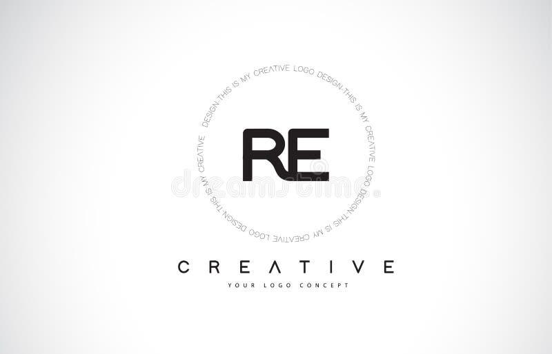 与黑白创造性的文本信件Vec的再R E商标设计 皇族释放例证