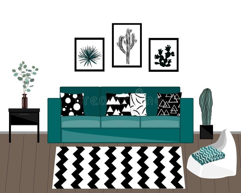 与黑白地毯、蓝色沙发有被装饰的枕头的,家庭植物和白色墙壁的斯堪的纳维亚样式客厅内部 向量例证