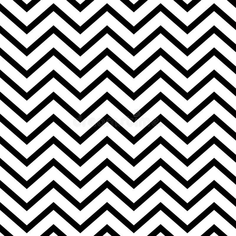 与黑白无缝的之字形的背景 库存例证