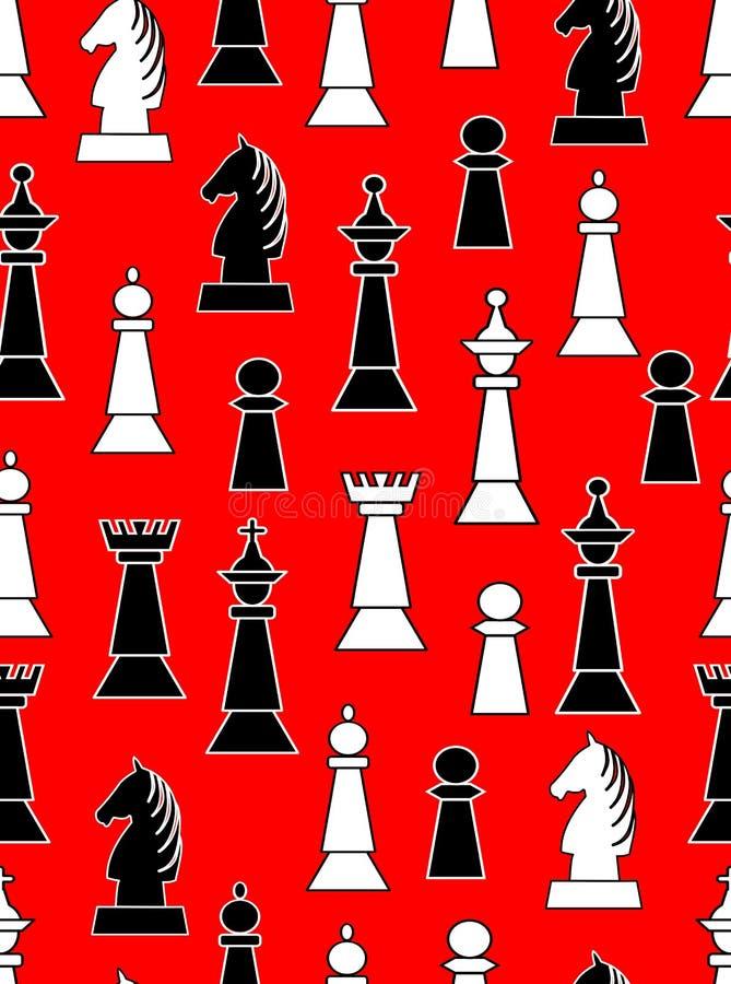 与黑白棋子的无缝的背景在浅红色的背景 参差不齐的分布的马、国王、女王/王后、主教和k 皇族释放例证
