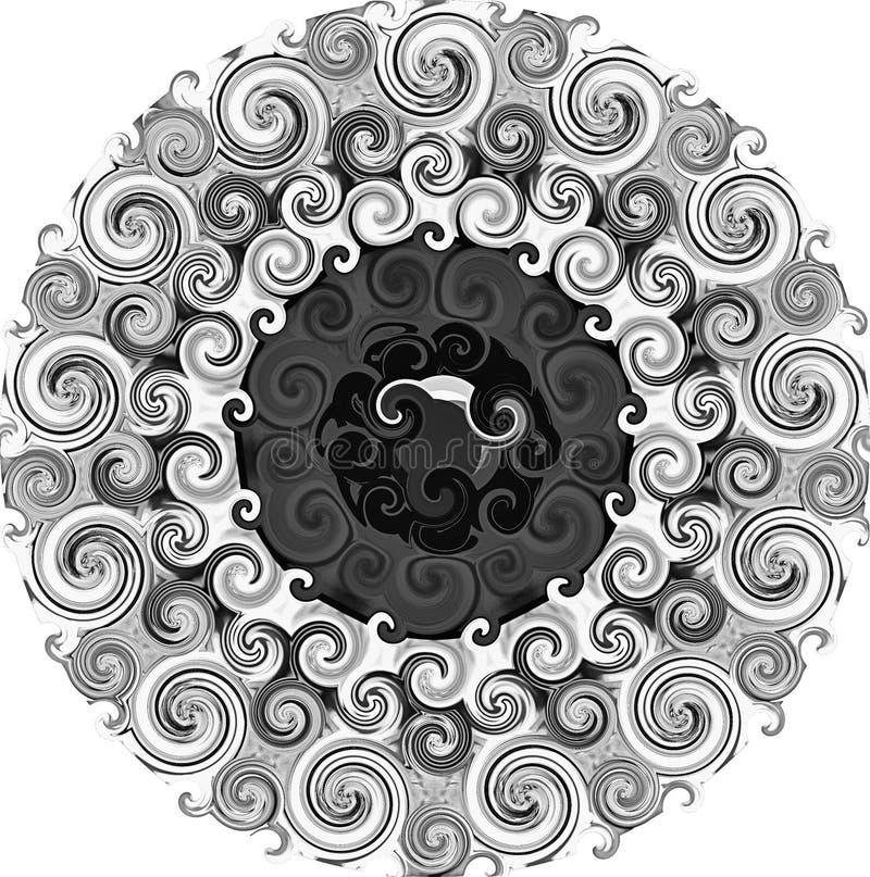 与黑白的万花筒例证 库存图片