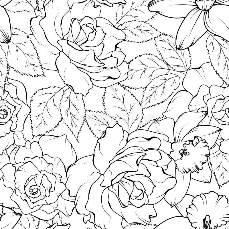 与黑白的玫瑰和的黄水仙的无缝的样式 也corel凹道例证向量 向量例证