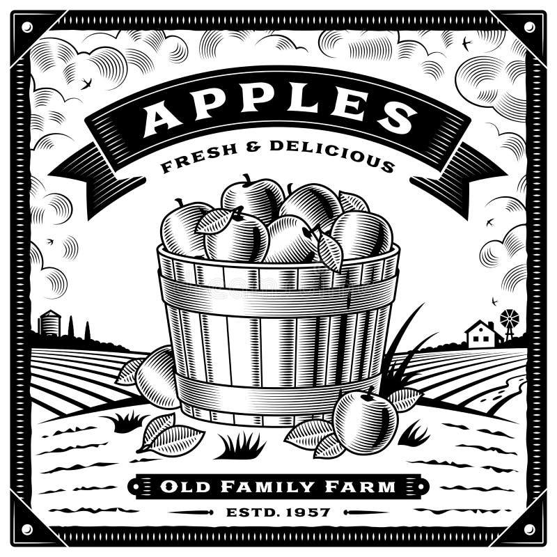 与黑白的风景的减速火箭的苹果收获标签 库存例证