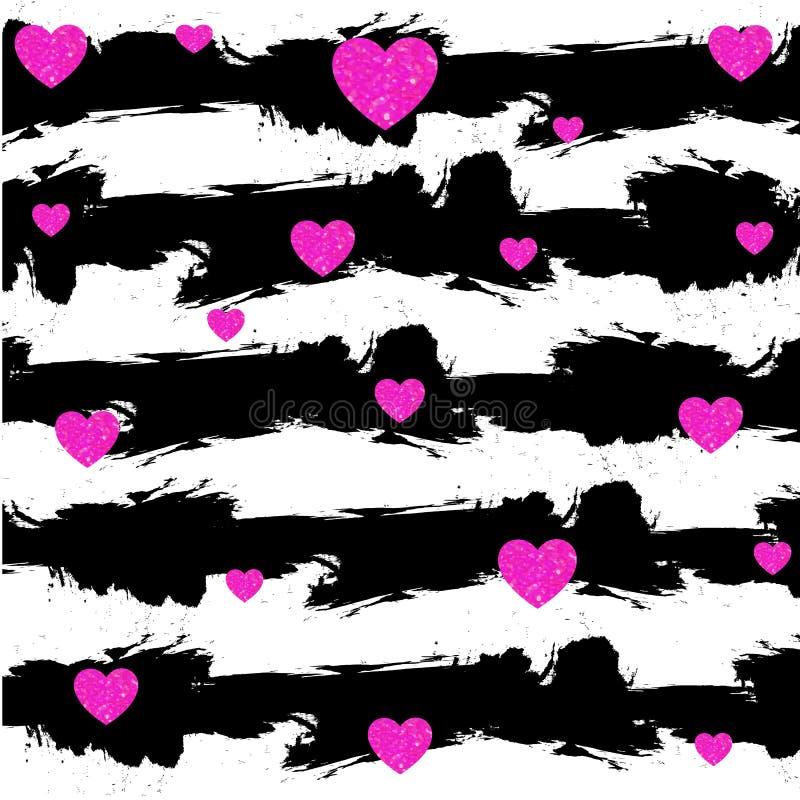 与黑白色条纹的抽象传染媒介难看的东西背景 洋红色心脏 华伦泰卡片背景 皇族释放例证