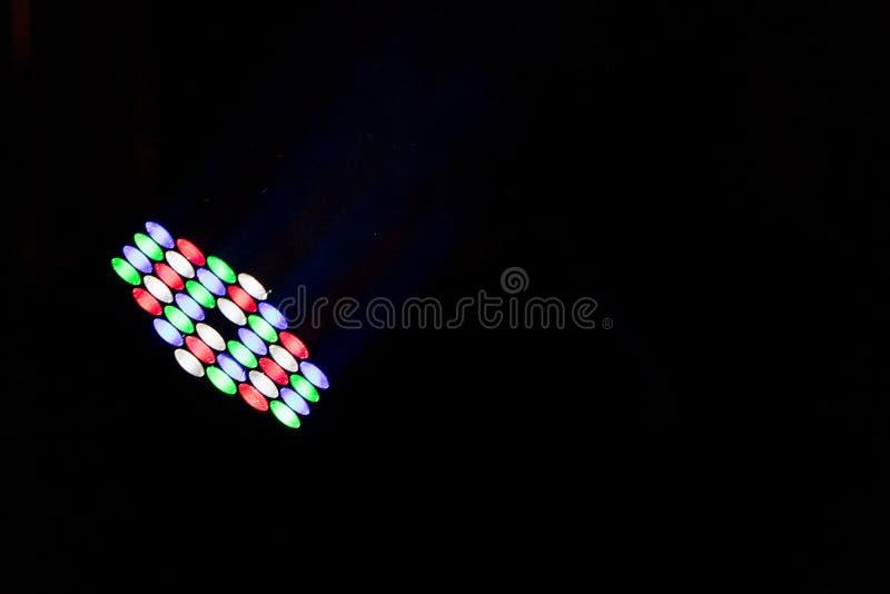 与黑空间的五颜六色的被带领的光文本阶段照明设备的 免版税库存图片