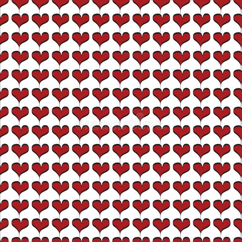 与黑等高无缝的样式的红色小心脏 皇族释放例证