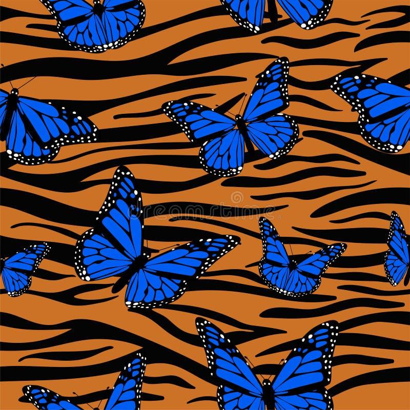 与黑脉金斑蝶结合的印刷品虎皮 E 库存例证