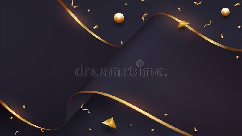 与黑色和金子的混合的豪华波浪纸背景 EPS10向量例证 库存例证