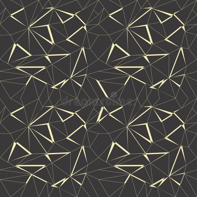 与黑色和金子颜色的抽象几何样式背景 库存例证