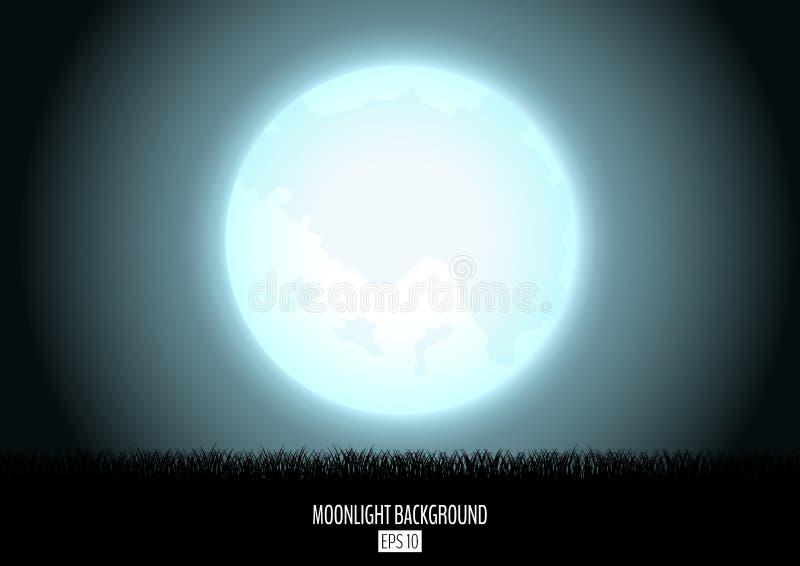 与黑草剪影的午夜傻瓜月亮摘要背景 库存例证