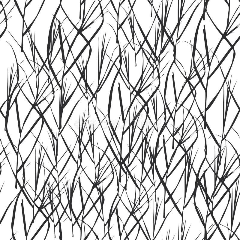 与黑草的抽象无缝的背景为时尚纺织品墙纸或网背景离开 黑剪影,白色bac 皇族释放例证