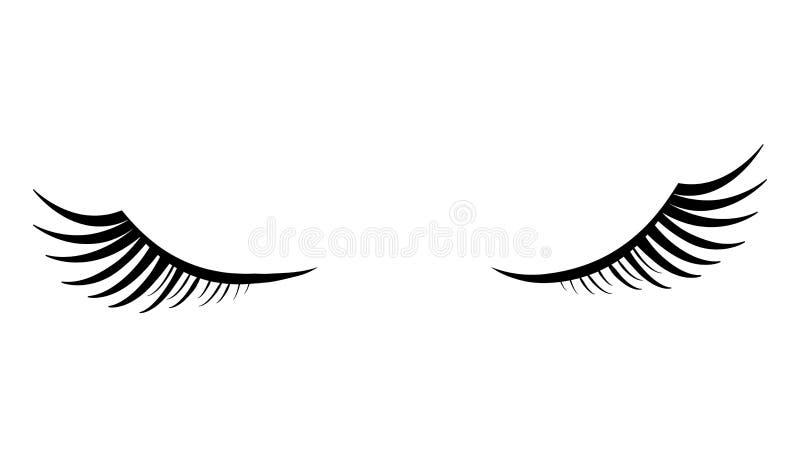 与黑蓬松睫毛的闭合的眼睛在白色背景 库存例证