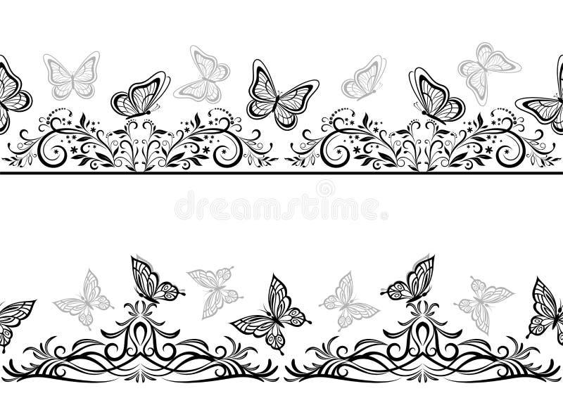 与黑蝴蝶的无缝的样式 皇族释放例证