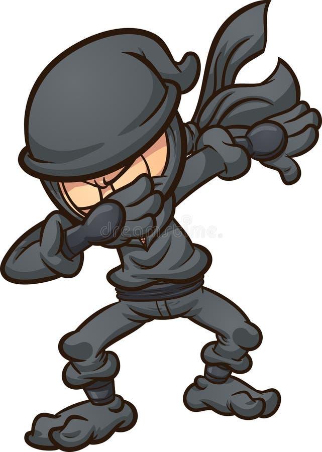 与黑衣服的轻打的动画片ninja 向量例证