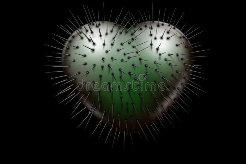 与黑钉的邪恶的绿色光滑的心脏 库存例证