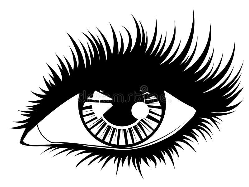 与黑长的睫毛的眼睛 库存例证