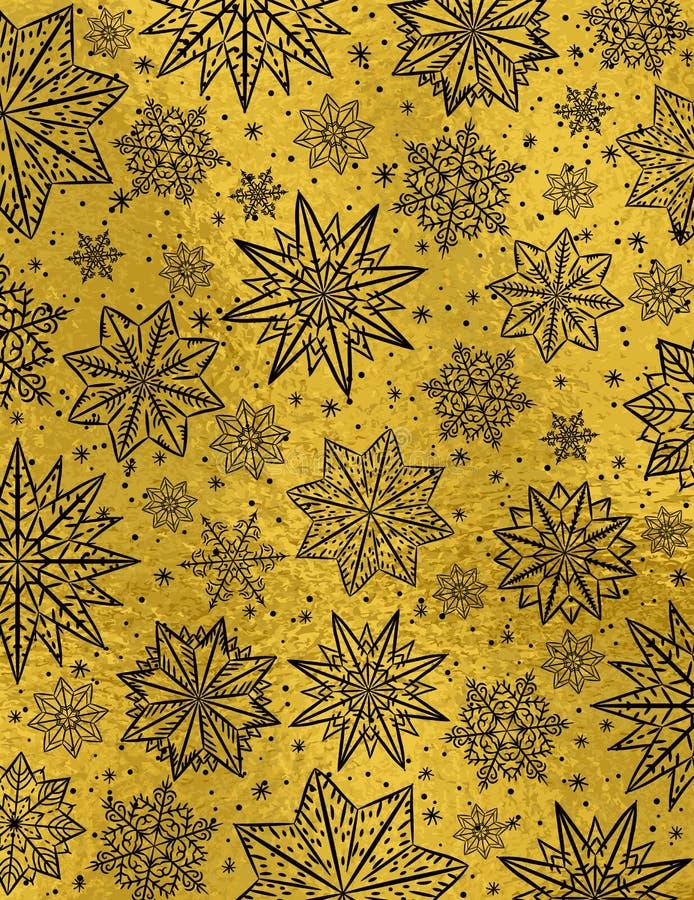 与黑雪花和sta的金黄光滑的圣诞节背景 皇族释放例证