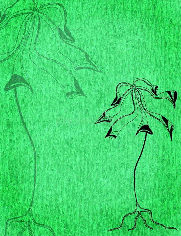 与黑风格化树的抽象水彩背景 皇族释放例证