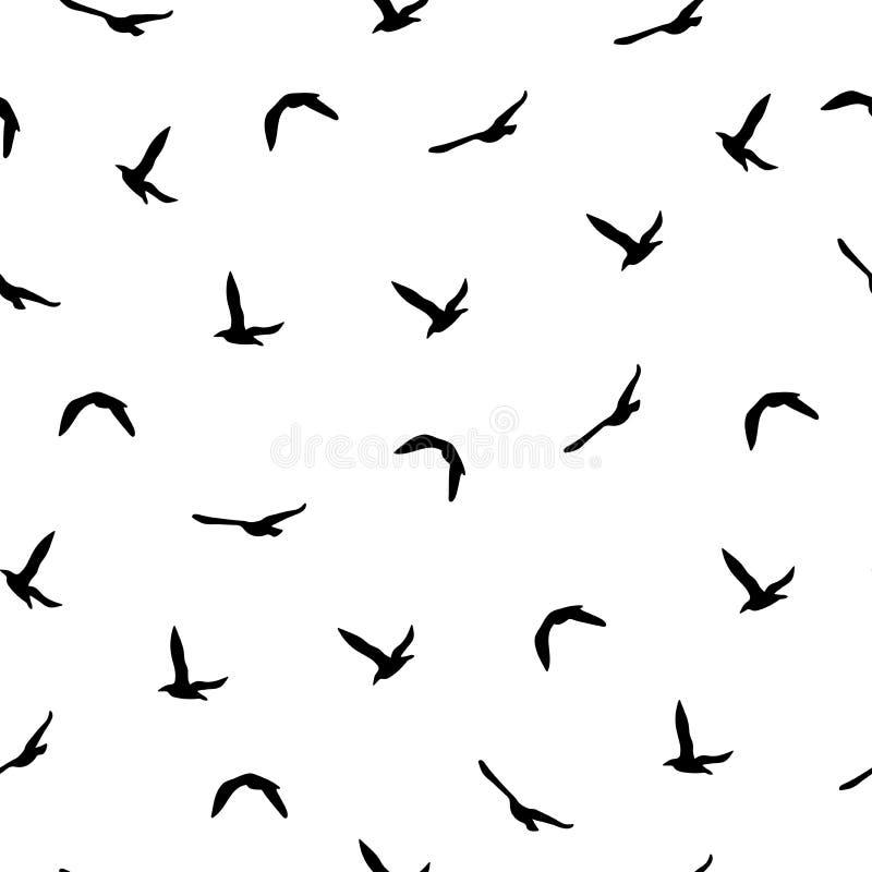 与黑飞鸟的无缝的抽象样式在白色背景 皇族释放例证