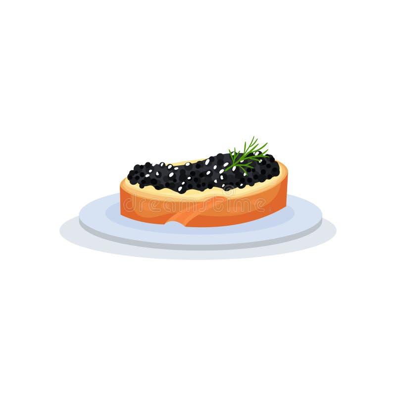 与黑鱼鱼子酱传染媒介例证的三明治在白色背景 库存例证
