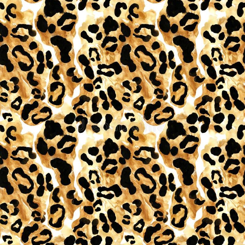 与黑rossetes的豹子或捷豹汽车外套无缝的样式在棕色背景 异乎寻常的野生动物皮肤印刷品 库存例证